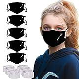 5 Piezas Protección Infantil Tela Negra +10 Piezas Filtro de carbón Activado Reutilizables Lavables con con Correas Ajustables para los oídos