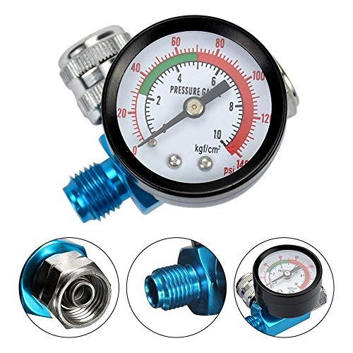 TANGIST Pistola de pulverización del regulador de presión de aire digital y 1/4 pulgadas de compresor HVLP 140PSI