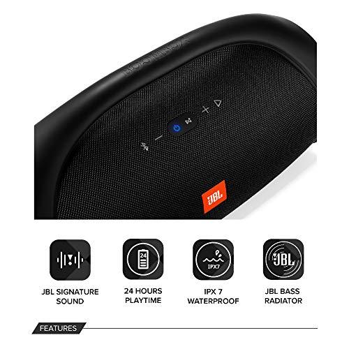 JBL Boombox Connect+ Speaker portatile impermeabile, Connettività wireless Bluetooth, Microfono vivavoce, Batterie ricaricabili integrate (24 ore di autonomia), 2 USB, Nero