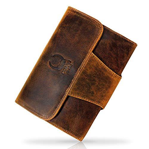 Travel Wallet Leder Brown I echt leer Travel Case A5 voor ontspannen reizen I Handgemaakte reis-organizer voor tablet, ticket & paspoort I Ruime portemonnee in vintage look I IP09 Corno d'Oro