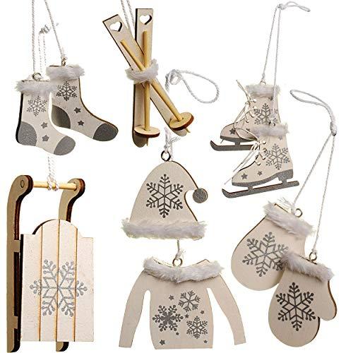 alles-meine.de GmbH 20 TLG. Deko Set -  Winter & Weihnachten - Ski / Schlittschuhe / Schlitten - aus Holz - Miniatur / Diorama - Anhänger - Weihnachtsdeko / Winter...