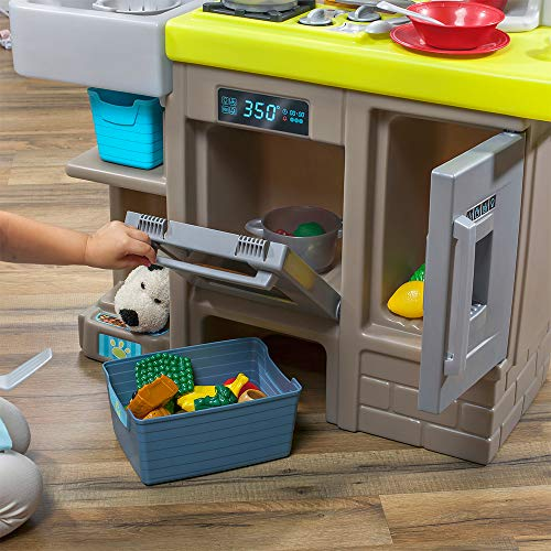 Step2 Contemporary Chef Kitchen | Colorful Plastic Play Kitchen | Kids Kitchen Playset with 25-Pc Toy Accessories Set Included, Grey