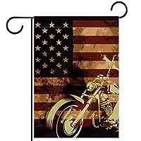 ガーデンフラグウェルカムバナーフラグヤードガーデン屋外装飾オールシーズンの垂直両面アートフラグオートバイの頭蓋骨とアメリカの国旗