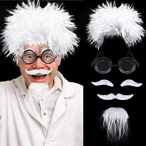 Juego de Pelucas de Científico, Incluye Peluca de Disfraz De Einstein, Gafas Nerd, Bigote Falso y Cejas para Fiestas de Disfraces, Halloween, Fiesta de Disfraces Temática de Ciencia, Abuelo Cosplay