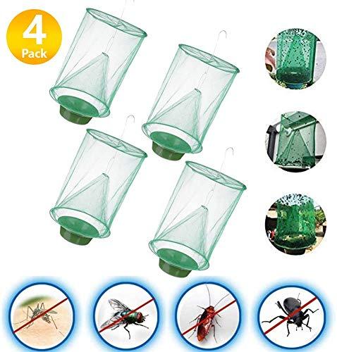 COWINN Ranch Fliegenfalle, 2020 Neue Insektenfalle Outdoor Fliegenfängerkäfig mit Futterköderschale, die effektivste Insektenfalle, die jemals für Fliegen/Mücken/Bienen hergestellt wurde (4 Stück)
