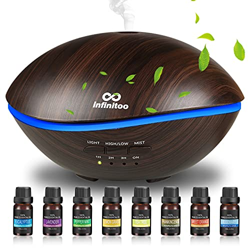 infinitoo 500ml Aromatherapy Oils Diffuser Gift Set, Wood Grain Ultrasonic...