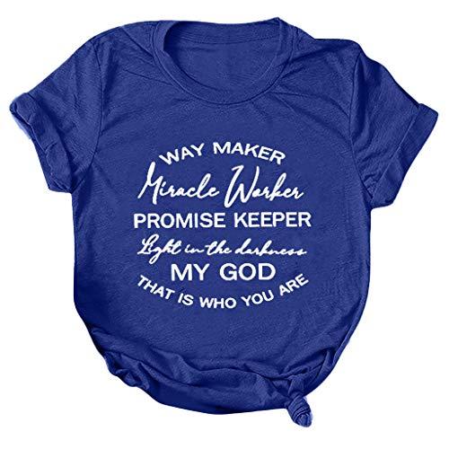 KPILP Damen T-Shirt Einfach Kurze Ärmel Bluse Tops Print Rundhals Tops Tee Geschenk Große Größen Teenager Mädchen Casual Tops Hemd