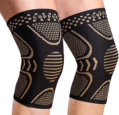 2 Pack Copper Knee Brace Knee Compression Sleeve Support for Men Women Knee Pain Working Out product image