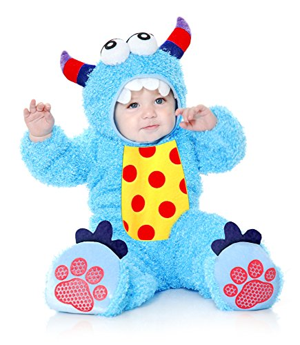 Charades Little Monster Madness Costume Jumpsuit, Hood, and Footsies Baby Costume, -Blue, Infant