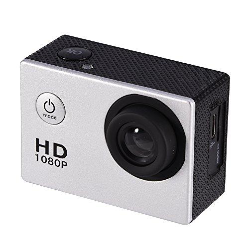 Mini cámara deportiva DV,pantalla HD 1080P de 2 pulgadas, impermeable,ciclismo al aire libre,deportes, cámara de acción DV, videocámara, soporte para tarjeta 32G TF,soporte para bicicleta(plata)
