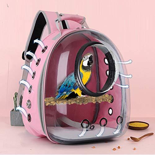 AZXAZ Haustier Vogel Rucksack für Papagei Reisetasche mit Barsch Raumkapsel Vogel Travel Cage Carrier Transparente und atmungsaktive Umhängetasche für Vogelkatze Welpe (Rosa)