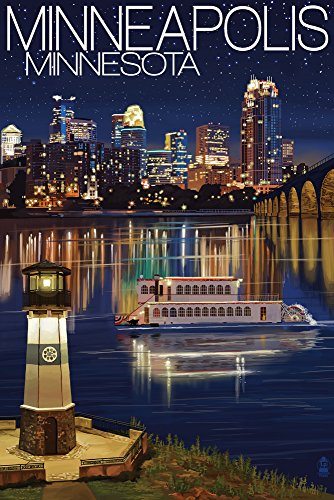 Minneapolis, Minnesota - Skyline at Night (9x12 Art Print, Wall Decor Travel Poster)