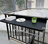 90 degrees Folding Adjustable Deck for Railing Hanging Aluminum Alloy Coffee Balcony Side Table Suitable for most Railings (Black),12040cm