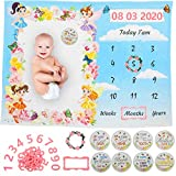 Baby Milestone Blanket for Girl, Floral Photography Backdrop with Photo Props, Month Blanket, Milestone Blanket Girl for Photo, Numbers Included for Photo Date, Soft Premium Plush Fleece, 300 GSM.
