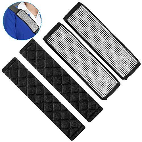 AIFUDA 4 piezas Hombreras de cinturón de seguridad, fundas de cinturón de seguridad para automóvil Bling Bling Fundas de cinturón de seguridad de cristal brillante Accesorios de decoración de coche
