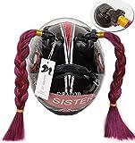 3T-SISTER Casco Trecce Gradiente Rampa Casco Coda di cavallo Casco Capelli con ventosa Decorazione capelli per Motocicletta 2 pezzi 14 pollici