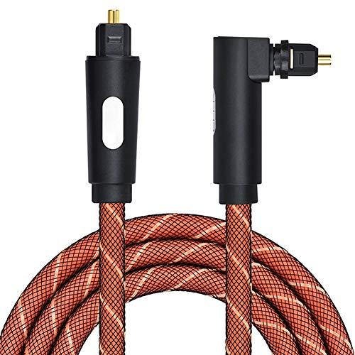 Yippel digitale optische audiokabel 90 graden hoek optische kabel audio kabels adapter, 5m, Koffie