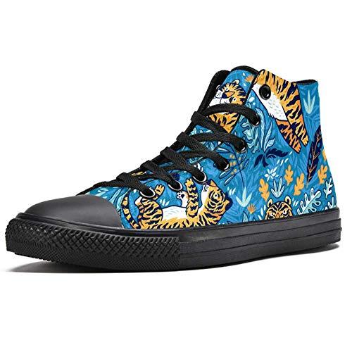 LORVIES - Zapatillas deportivas de tela para hombre, color naranja, Tigres, azul, para jardín, color azul, (multicolor), 46 EU