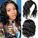 Bob Wig Body Wave Lace Front Wigs Human Hair T-Part 4x1 Lace Closure Wig Brazilian Virgin Short Bob Wigs for Black Women T Shape Middle Part Body Wave Wig Pre Plucked with Baby Hair (12Inch)