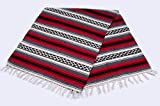 Mission Del Rey Old Mexican Style Woven Blanket with Traditional Designs & Colors for beds, Yoga, Pic Nic, Beach, Travel and Rustic Home Decor (Red)