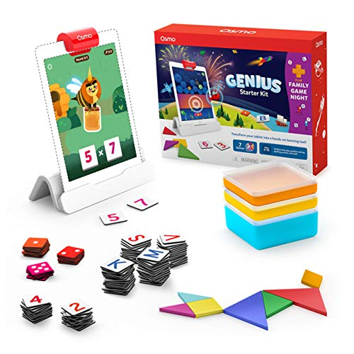 Osmo - Genius Starter Kit for iPad + Family Game Night - 7 Educational Learning Games for Spelling, Math & more - Ages 6-10 - STEM Toy (Osmo iPad Base Included - Amazon Exclusive)