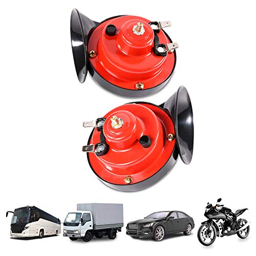 2PCS 300 DB Super Loud Train Horn for Trucks Boat Car Air Electric, Snail Single Horn, Double Horns Raging Sound for Trucks, Cars, Motorcycle, Bikes, Boats with 12v Power Supply