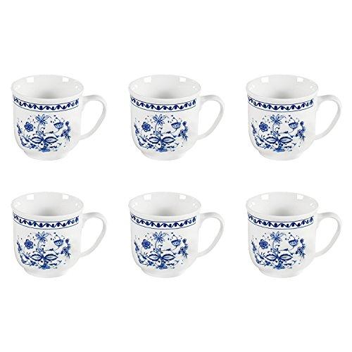 Triptis 1350380674882116 Romantika Zwiebelmuster Kaffeebecher, 300 ml, Porzellan, weiß/blau (6 Stück)