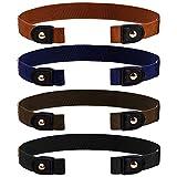 ISIYINER Cinturón Elástico Sin Hebilla para Hombre Mujer, Cinturón Sin Hebillas Cinturón Elástico Invisible para Pantalones Vaqueros 4 Piezas