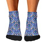 東洋のモチーフ抽象的な目の植物パターン青四季適用無臭綿 吸汗 メンズ踝靴下 カジュアル