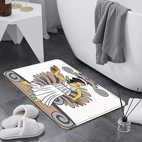 Badematte 60x100 cm rutschfest,Toga Party, Griechische Frau mit Amphor,Badvorleger Maschinenwaschbar Anti-Rutsch Badteppich Weich Wasserabsorbierende-Badematten Flauschige Mikrofaser Badezimmerteppich
