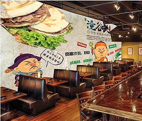 Papel Tapiz Fotográfico Personalizado Pared De Fondo De Catering De Sándwich De Carne Nostálgico Retro-400Cmx280Cm