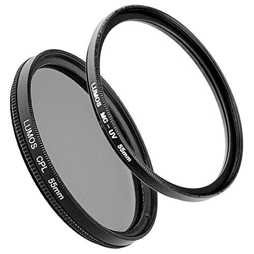 LUMOS Polfilter + Slim MC UV Filter Set kompatibel zu Sony DSC-HX400V Kamera auch HX300 - Schutzfilter + Polarisationsfilter 55mm