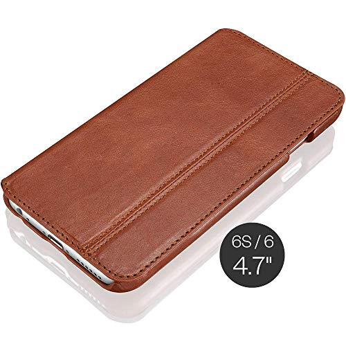 KAVAJ iPhone 6S/6 Case Leather Dallas Cognac Brown - Genuine Leather Cover with Business Card Holder. Slim Fit Flip Case As Premium Accessory for Original Apple iPhone 6S and 6 Doubles As A Wallet.