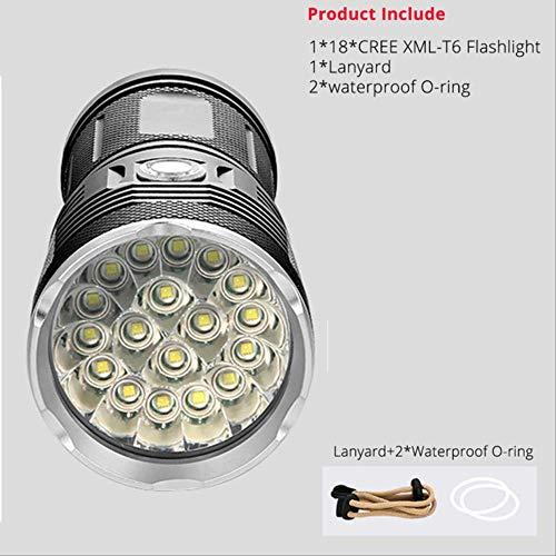 72000lums haute puissante lampe de poche menée 18 * t6 a mené l'option portative imperméable de projecteur de torche A de lumière de torche