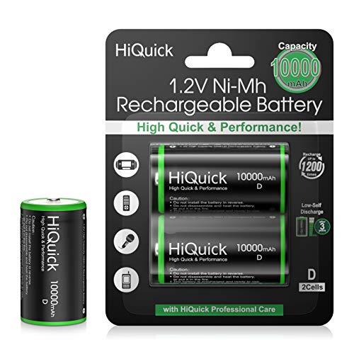 HiQuick D Cell Rechargeable Batteries 10000mAh, 2 D Size Battery 1.2V High...