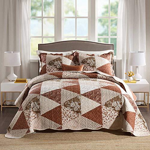 HoneiLife Bettwäsche-Set für Queen-Size-Bett, 3-teilig, Mikrofaser, wendbar, Tagesdecke, Patchwork-Überzug, Blumenmuster, alle Jahreszeiten, Steppdecken mit Dreiecks- & Queen-Size-Größe