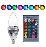 Intelligente Glühbirne mit buntem Licht, E14, 3 W, RGB, LED-Lampen mit Fernbedienung und Farbwechsel., .