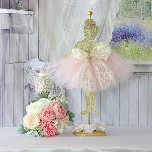 Balerina de bailarina grande para fiesta de cumpleaños, bailarina de bailarina, decoración de ballet rosa y dorado para niñas