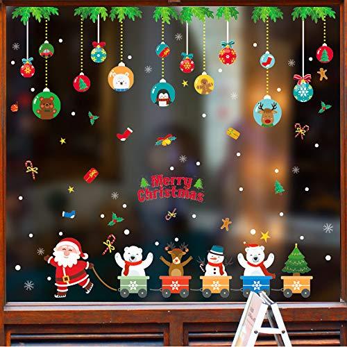 Sunshine smile Fensterbilder Weihnachten,Schneeflocke Fensteraufkleber,Weihnachts-Fenster Dekoration,Aufklebe Weihnachtsmann,Fensterbilder Winter,Schneeflocken Fenster,PVC Fensterdeko Selbstklebend