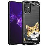 CasesOnDeck Dog Design Case Compatible with Samsung Galaxy S20+ Plus (2020)(6.7' Screen) - Slim TPU Flexible Matte Carbon Fiber Texture Cover (Corgi)