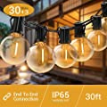 Quntis LED Outdoor String Lights - Waterproof 32FT G40 Globe String Lights with 30 Bulbs Patio String Lights Hanging for Garden Backyard Wedding Party Christmas, UL Listed, Warm White