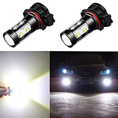 Alla Lighting 5201 5202 LED Fog Light Bulbs CANBUS Xtreme Super Bright High Power 50W 12V LED DRL PS19W 12085 PS24W Replacement, 6000K Xenon White