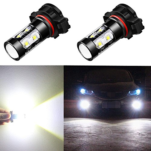 Alla Lighting 5201 5202 LED Fog Light Bulbs CANBUS Xtreme Super Bright 50W 12V LED DRL PS19W 12085 PS24W Replacement, 6000K Xenon White