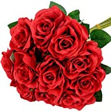 Miracliy 12pcs Red Roses Artificial Flowers Fake Rose Flowers Rose Bouquet for Wedding Bridal Bouquet Flower Arrangement for Home Decor Valentine's Day