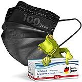 kela, 100 Stck. OP Maske schwarz, 100% Made in Germany, medizinische Mund Nasenschutzmaske, chirurgische Einweg-Maske, CE zertifiziert, DIN EN 14683 Typ II, BFE >98%, 3-lagig, sofort ab Lager (100)