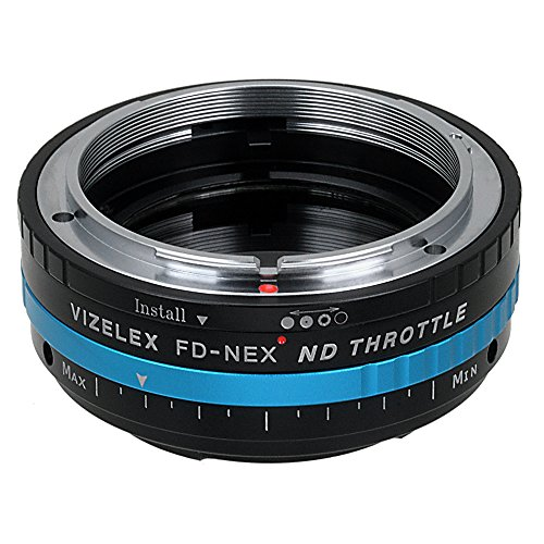 Vizelex ND Throttle Lens Mount Adapter - Canon FD & FL 35mm SLR lens naar Sony Alpha E-Mount Mirrorless Camera Body met ingebouwde variabele ND Filter (2-stop naar 8-stops)