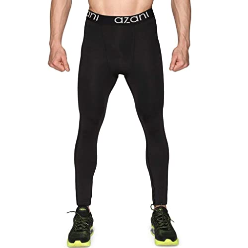 Azani Mens Compression Tights. Sports Baselayer Leggings. Ideal for Running, Gym, Cycling, Yoga & More. Cool Dry Compression Sports Pants - Anthracite Black