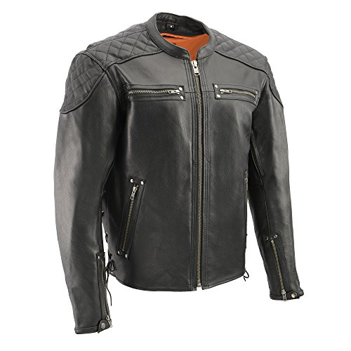 Milwaukee Leather MLM1580 Mens Full Side Lace Vented Black Leather Scooter Jacket - Large