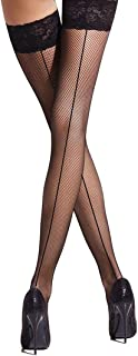 MILA MARUTTI Fishnet Thigh High Stay up Stockings Lace Top Silicone Top Nylon Hosiery