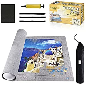 Jigsaw Puzzle Mat Roll Up - 2000 Pieces, 1500, 1000 Pieces Saver Large Puzzles Board for Adults Kids, Storage and Transport Premium Pump Glue Felt Mat Inflatable Tube Holder Organizer Pad Keeper by Gropecan